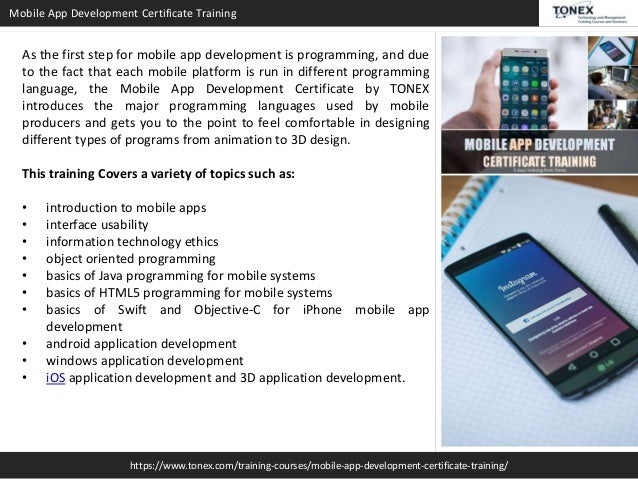 Mobile App Development Certificate : Tonex Training