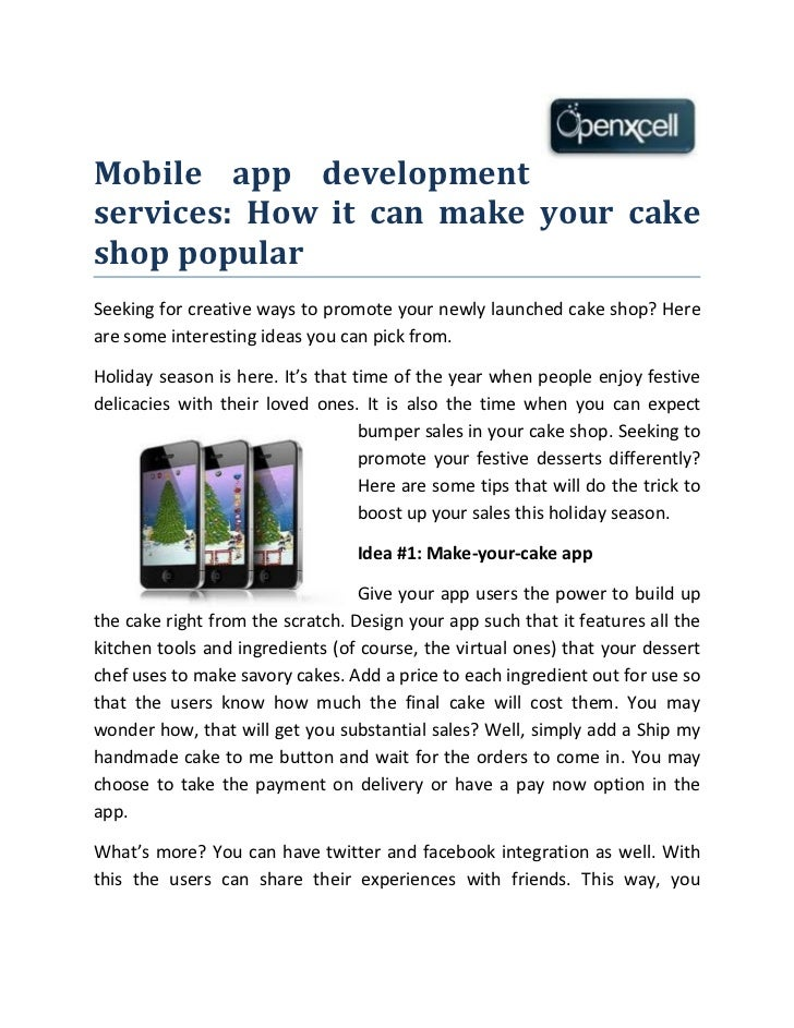 Mobile app developmentservices: How it can make your cakeshop popularSeeking for creative ways to promote your newly launc...