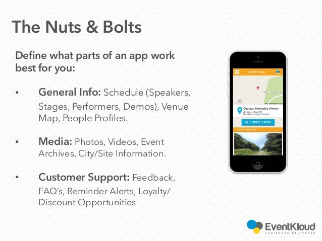 Define what parts of an app work best for you: • General Info: Schedule (Speakers, Stages, Performers, Demos), Venue Map, ...