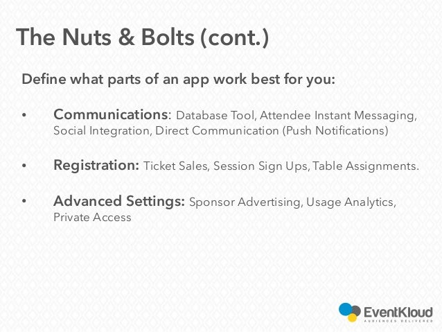Define what parts of an app work best for you: • Communications: Database Tool, Attendee Instant Messaging, Social Integra...