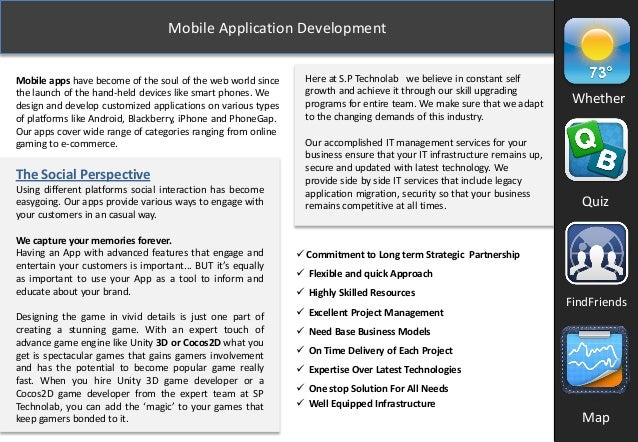 Mobile Application Development Mobile apps have become of the soul of the web world since the launch of the hand-held devi...