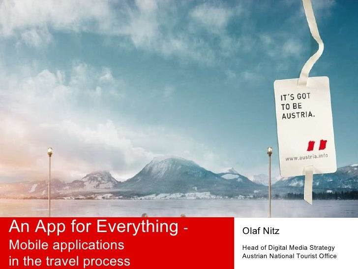 An App for Everything  - Mobile applications  in the travel process Olaf Nitz Head of Digital Media Strategy Austrian Nati...