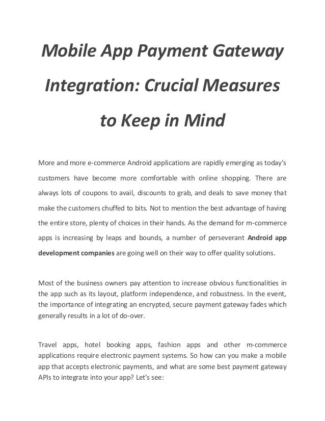 Mobile App Payment Gateway Integration_ Crucial Measures to