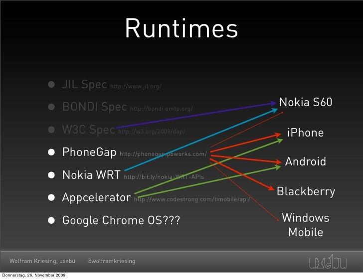 Runtimes                      • JIL Spec         http://www.jil.org/                        • BONDI Spec              http...