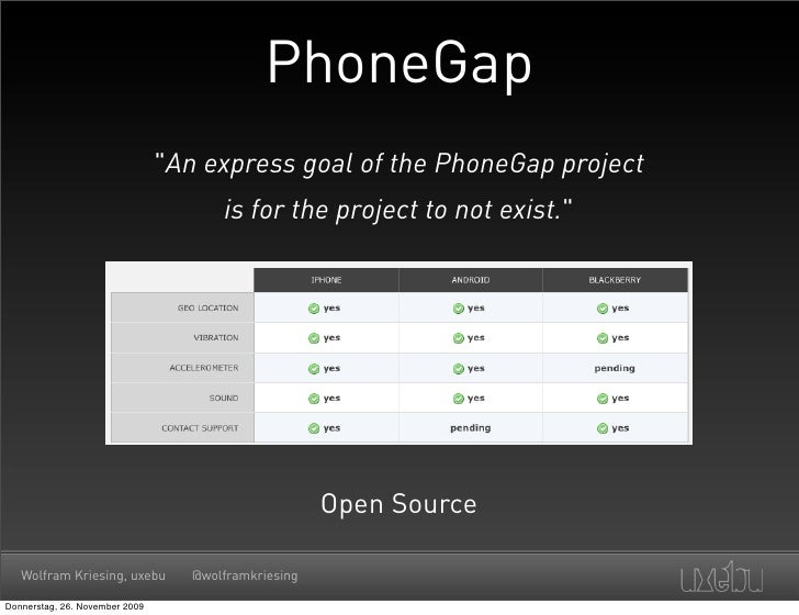 """PhoneGap                                 """"An express goal of the PhoneGap project                                        i..."""