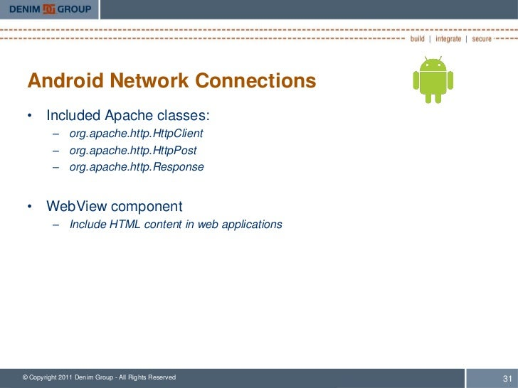 Android Network Connections • Included Apache classes:         – org.apache.http.HttpClient         – org.apache.http.Http...