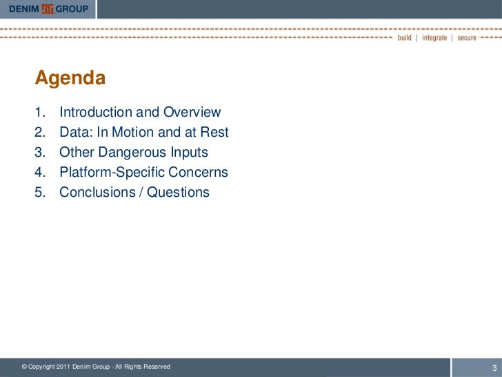 Agenda    1.      Introduction and Overview    2.      Data: In Motion and at Rest    3.      Other Dangerous Inputs    4....