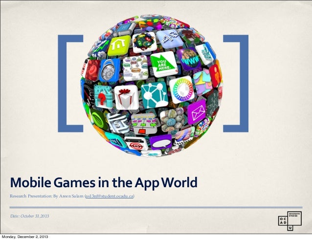 [ Mobile  Games  in  the  App  World Research Presentation: By Areen Salam (as13nf@student.ocadu.ca)  Date: Octo...