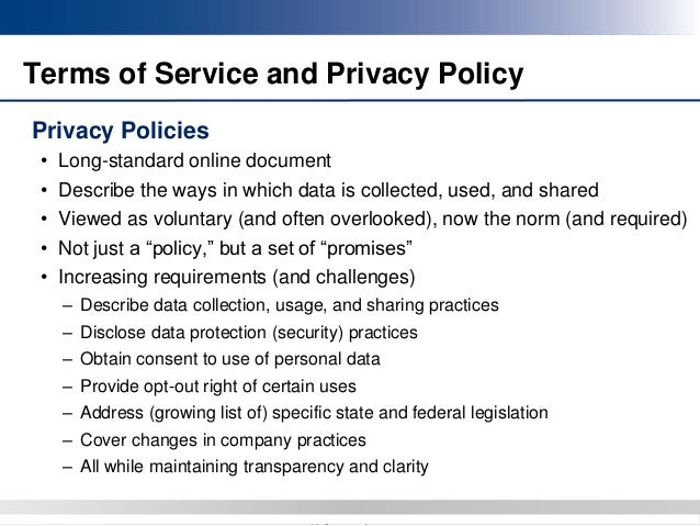 Standard Privacy Policy >> Mobile Apps Legal And Practical Considerations