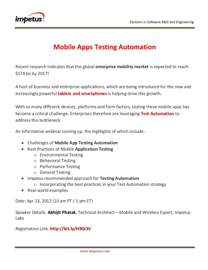 Partners in Software R&D and Engineering                   Mobile Apps Testing AutomationRecent research indicates that th...