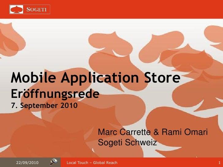 Mobile App Stores - Eröffnungsrede