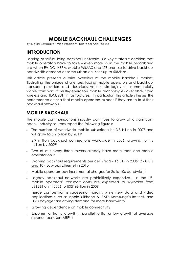 MOBILE BACKHAUL CHALLENGES By: David Rottmayer, Vice President, Telefocal Asia Pte Ltd   INTRODUCTION Leasing or self-buil...