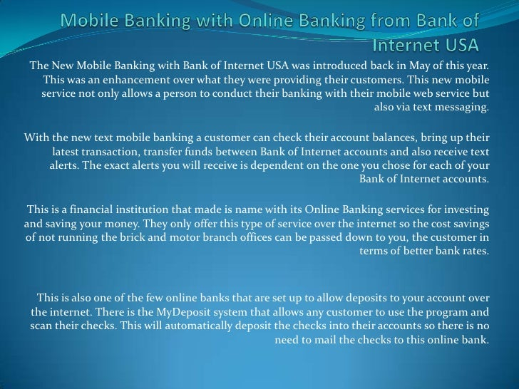 Mobile Banking With Online Banking From Bank Of Internet Usa