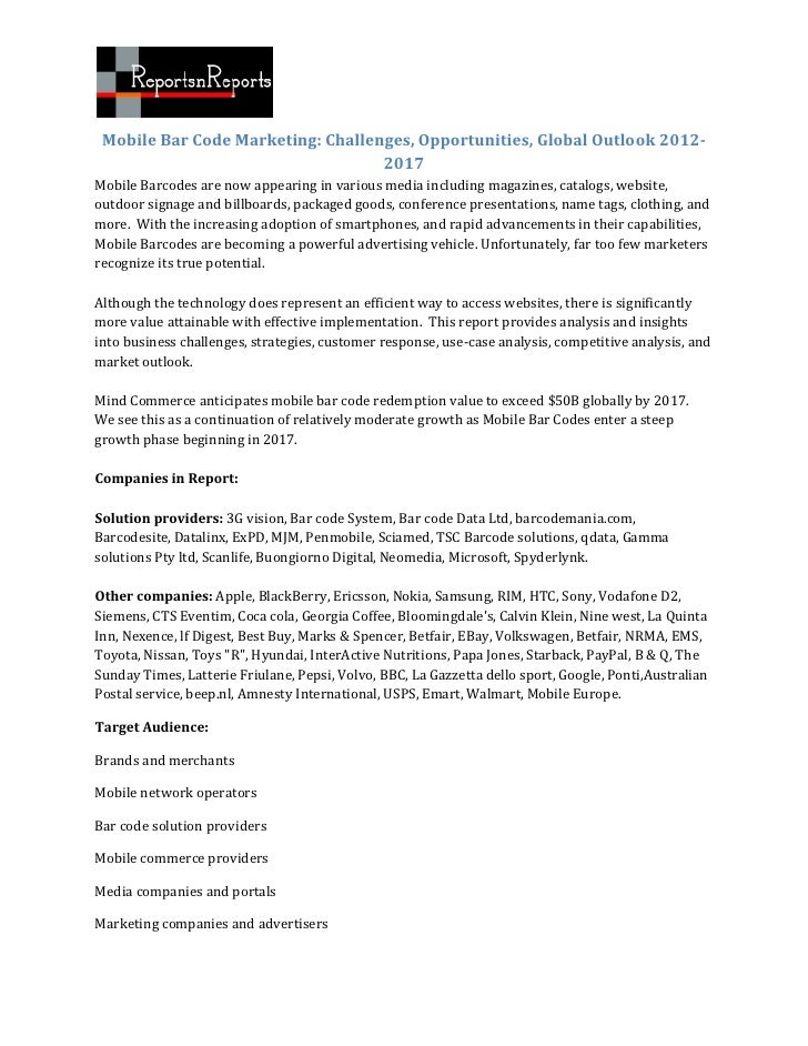 Mobile Bar Code Marketing: Challenges, Opportunities, Global Outlook 2012-                                   2017Mobile Ba...