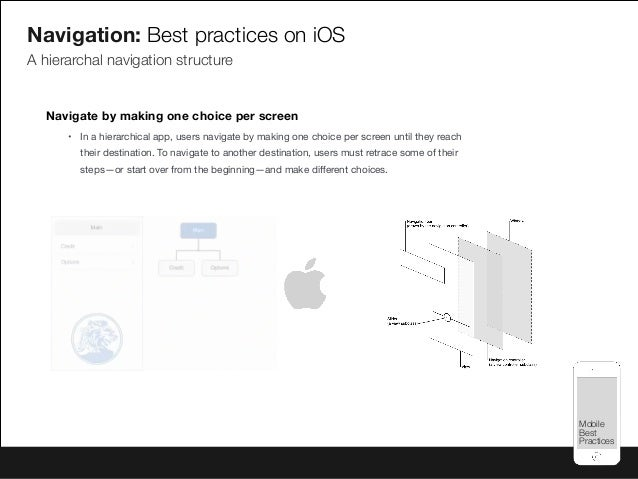 Mobile Best Practices Mobile Best Practices Navigation: Best practices on iOS A hierarchal navigation structure Navigate b...