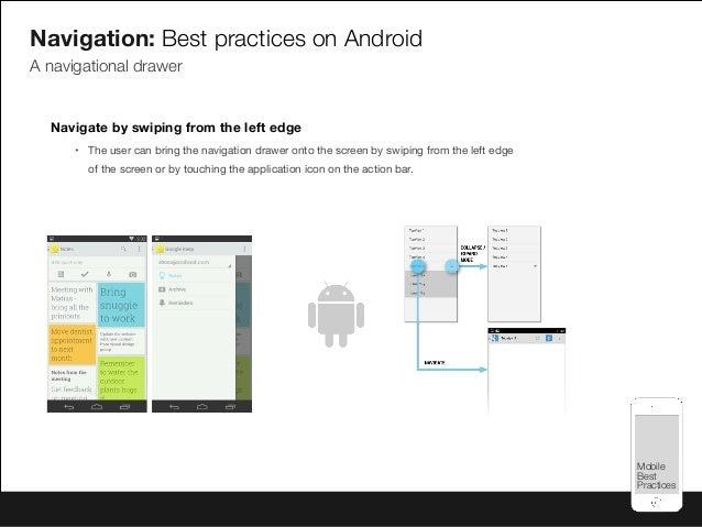 Mobile Best Practices Mobile Best Practices Navigation: Best practices on Android A navigational drawer Navigate by swipin...