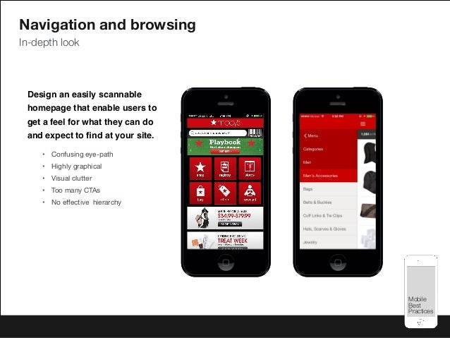 Mobile Best Practices Mobile Best Practices Design an easily scannable homepage that enable users to get a feel for what t...