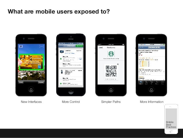 Mobile Best Practices What are mobile users exposed to? Simpler PathsNew Interfaces More InformationMore Control