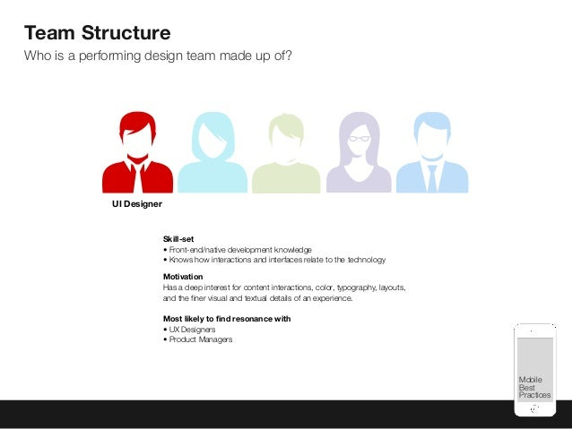 Mobile Best Practices Team Structure Who is a performing design team made up of? Skill-set • Front-end/native development ...