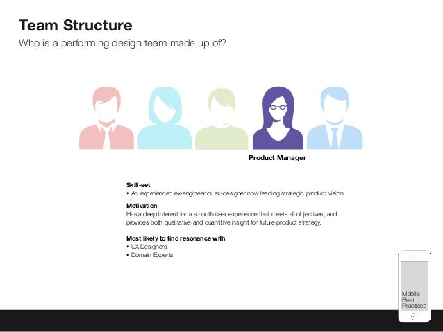 Mobile Best Practices Skill-set •An experienced ex-engineer or ex-designer now leading strategic product vision Motivatio...