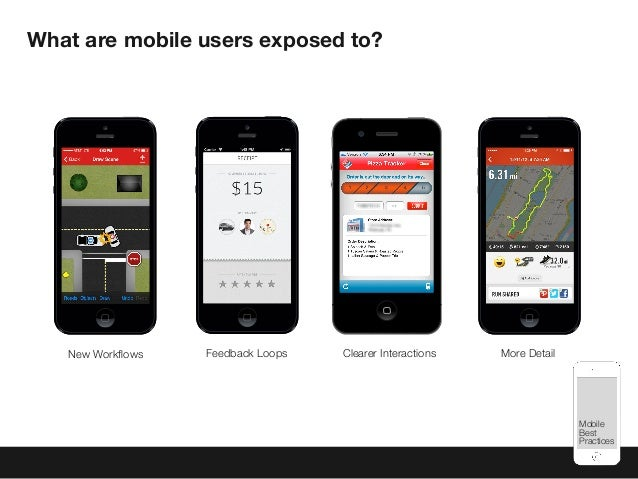 Mobile Best Practices What are mobile users exposed to? Clearer InteractionsFeedback Loops More DetailNew Workflows