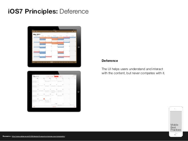 Mobile Best Practices iOS7 Principles: Deference Resource - http://www.aisleone.net/2009/design/8-ways-to-improve-your-typ...