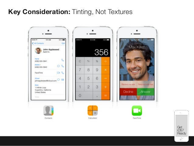 Mobile Best Practices Key Consideration: Tinting, Not Textures Get iOS7 Ready