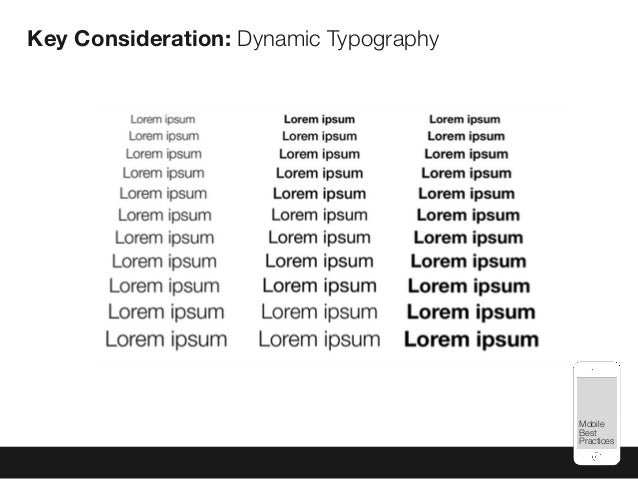 Mobile Best Practices Key Consideration: Dynamic Typography