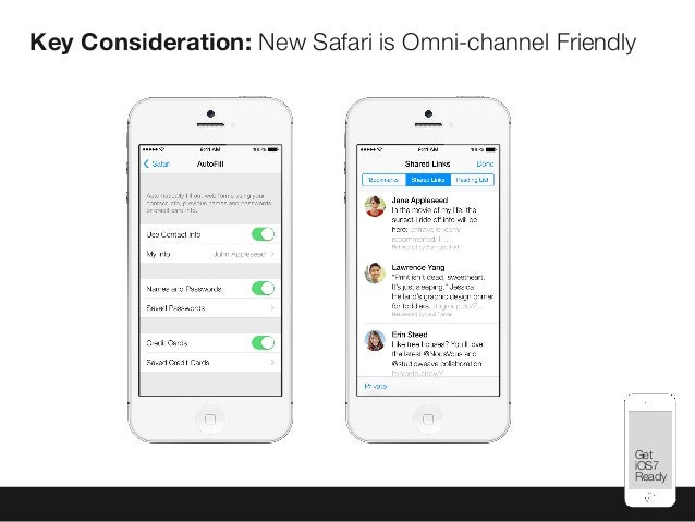Mobile Best Practices Key Consideration: New Safari is Omni-channel Friendly Get iOS7 Ready