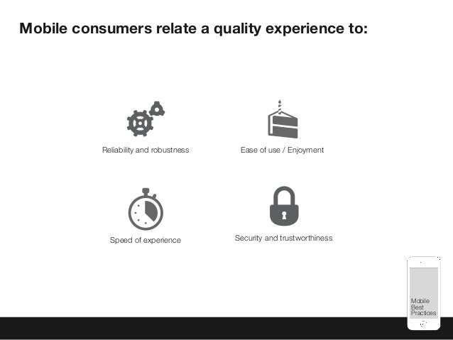 Mobile Best Practices Mobile consumers relate a quality experience to: Speed of experience Ease of use / EnjoymentReliabil...