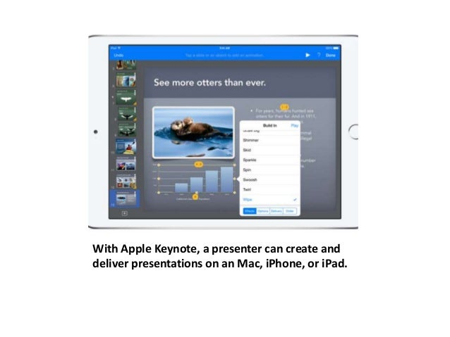 With Apple Keynote, a presenter can create and  deliver presentations on an Mac, iPhone, or iPad.