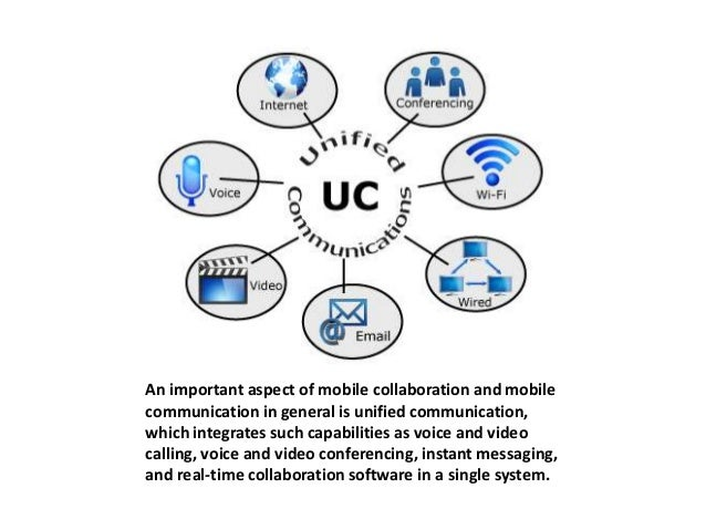 An important aspect of mobile collaboration and mobile  communication in general is unified communication,  which integrat...