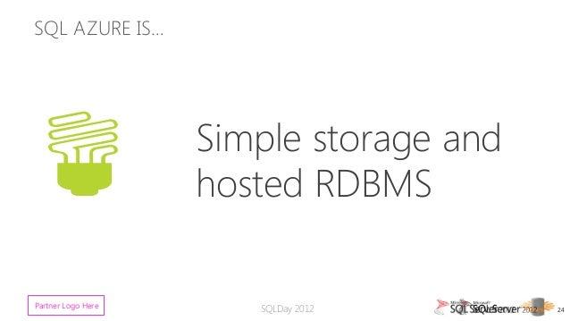 SQL AZURE IS… Simple storage