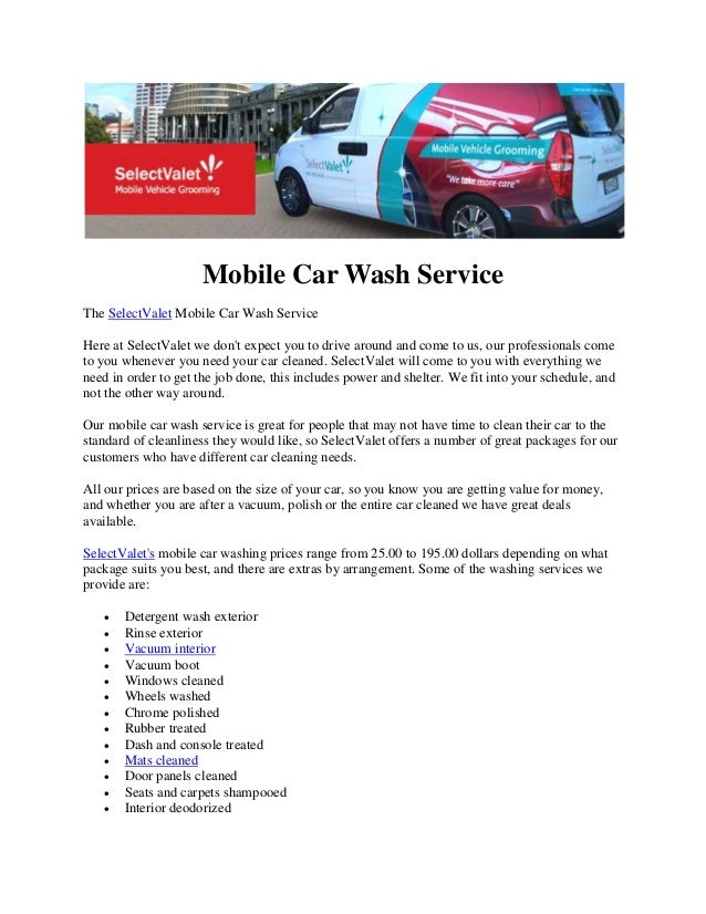 Mobile car wash service