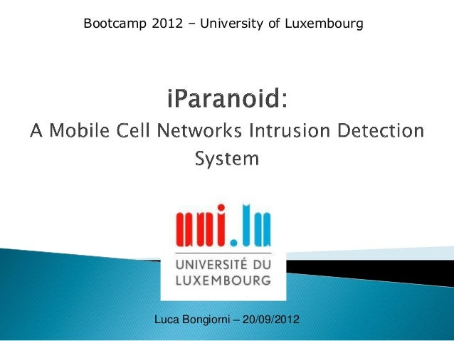 Bootcamp 2012 – University of Luxembourg  Luca Bongiorni – 20/09/2012
