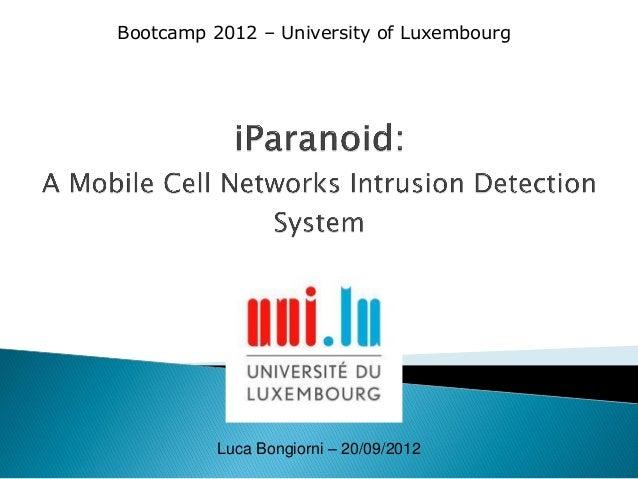 Bootcamp 2012 – University of Luxembourg  Luca Bongiorni – 20/09/2012