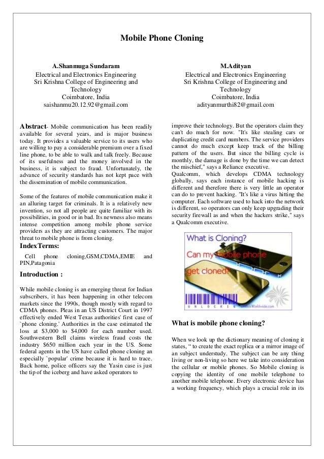 Mobile Phone Cloning             A.Shanmuga Sundaram                                              M.Adityan     Electrical...