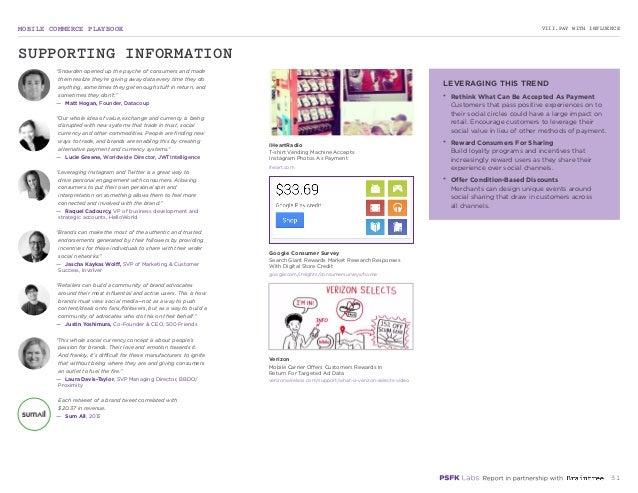 MOBILE COMMERCE PLAYBOOK 31 VIII.PAY WITH INFLUENCE iheart.com google.com/insights/consumersurveys/home verizonwireless.co...