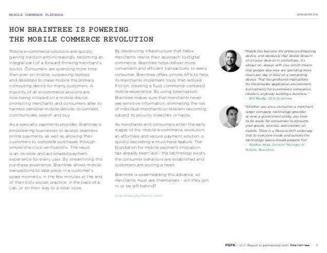 MOBILE COMMERCE PLAYBOOK 4 Mobile e-commerce solutions are quickly gaining traction and increasingly becoming an integral ...