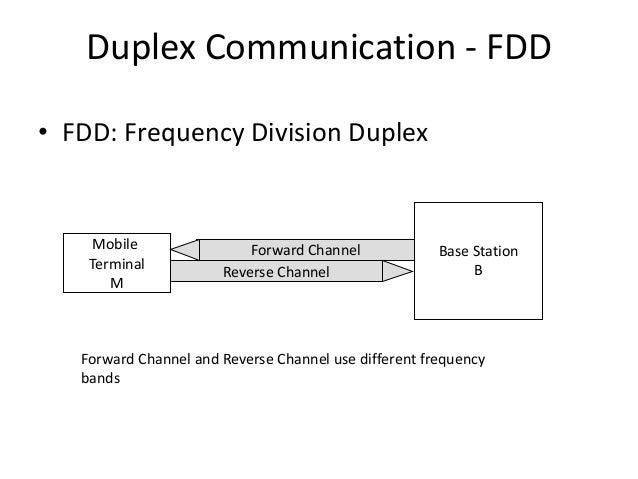 Duplex Communication - FDD • FDD: Frequency Division Duplex Base Station B Mobile Terminal M Forward Channel Reverse Chann...