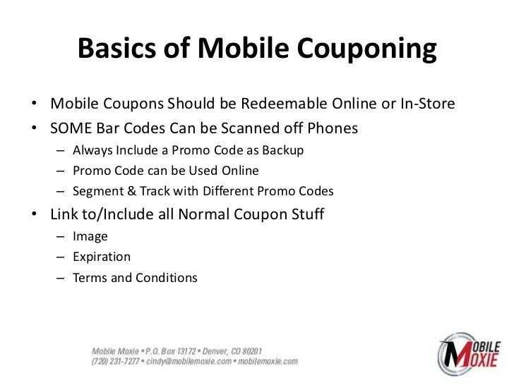 Mobile Couponing, SMS & QR Codes