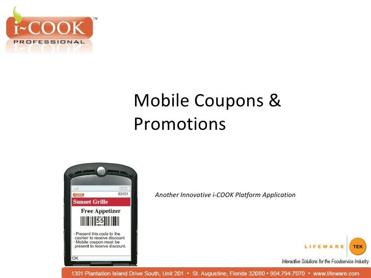 Mobile Coupons & Promotions Another Innovative i-COOK Platform Application