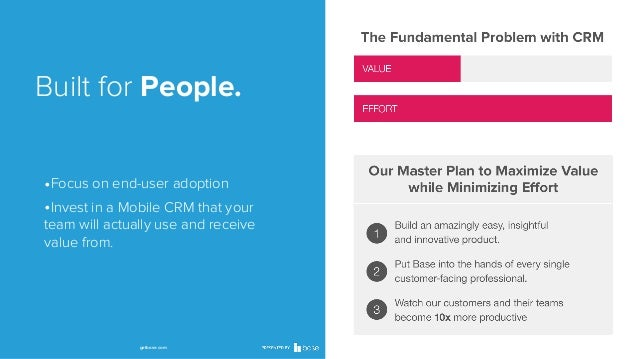 Built for People. •Focus on end-user adoption •Invest in a Mobile CRM that your team will actually use and receive value f...