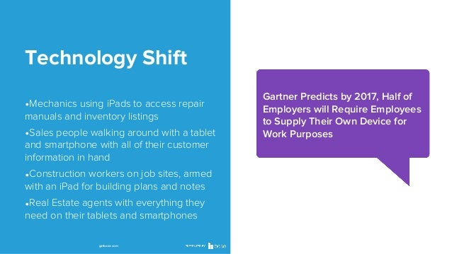 Technology Shift •Gartner Predicts by 2017, Half of  •Mechanics using iPads to access repair manuals and inventory listing...