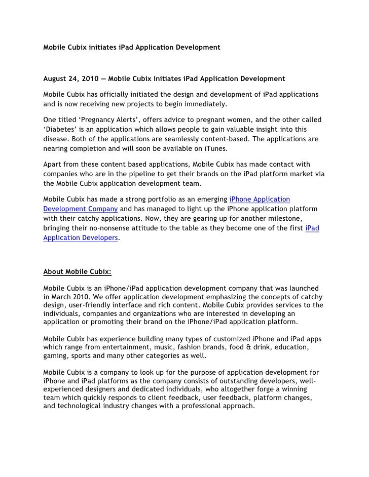 Mobile Cubix initiates iPad Application Development<br />August 24, 2010 — Mobile Cubix Initiates iPad Application Develop...