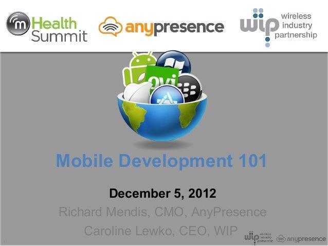 Mobile Development 101            December 5, 2012    Richard Mendis, CMO, AnyPresence        Caroline Lewko, CEO, WIP1