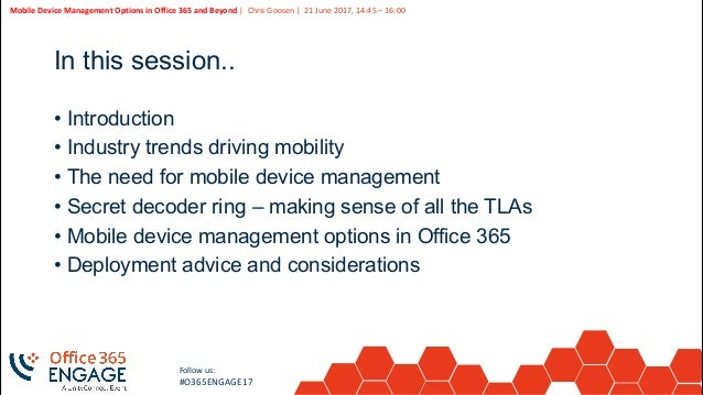 O365Engage17 - Mobile device management options in office