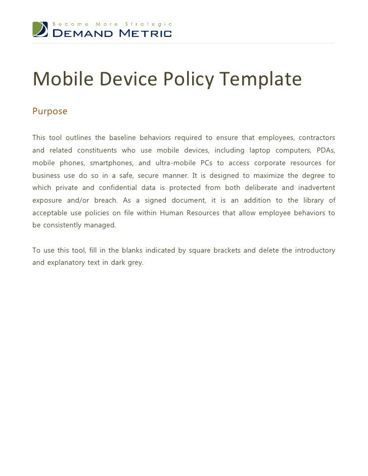 mobile device policy templatepurposethis tool outlines the baseline behaviors required to ensure that employees
