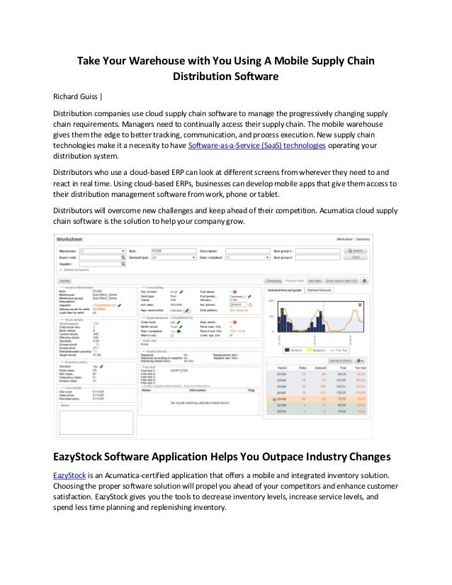 Take Your Warehouse with You Using A Mobile Supply Chain Distribution Software Richard Guiss | Distribution companies use ...