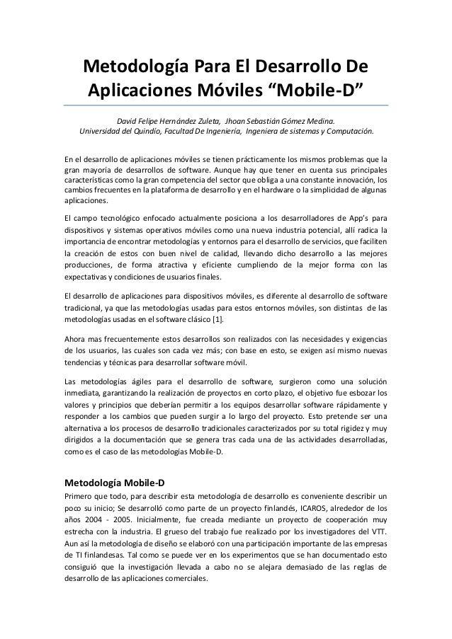 """Metodología Para El Desarrollo De Aplicaciones Móviles """"Mobile-D"""" David Felipe Hernández Zuleta, Jhoan Sebastián Gómez Med..."""